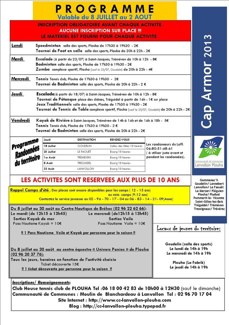 Programme cap armor du 8 juillet au 2 aout 2013